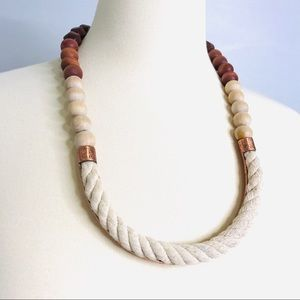 Anthro Mixed Material Rope/Wood/Metal Necklace
